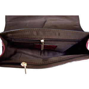 Internal View Of The Black Burgundy Women's Small Leather Handbag