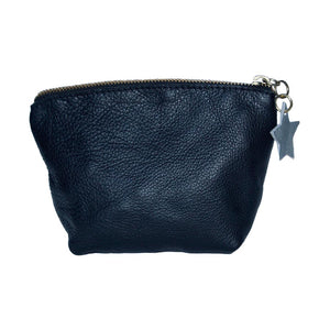 Rear View Of The Black Emma Leather Accessory Pouch