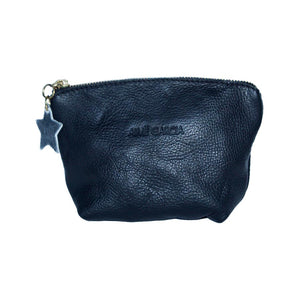 Front View Of The Black Emma Leather Accessory Pouch