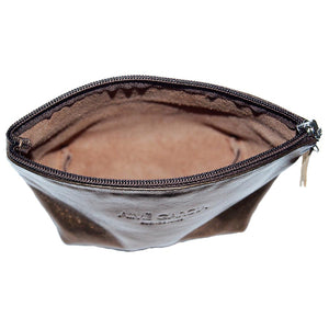 Internal View Of The Bronze Emma Leather Accessory Pouch