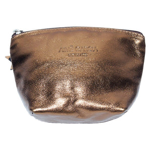 Front View Of The Bronze Emma Leather Accessory Pouch
