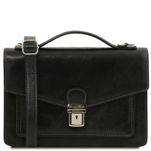 Front View Of The Black Mens Leather Crossbody Bag