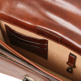 Internal View Of The Brown Mens Leather Crossbody Bag