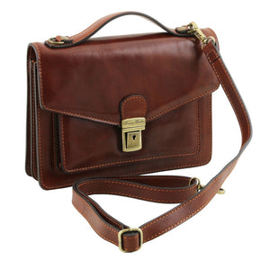 Side View Of The Brown Mens Leather Crossbody Bag