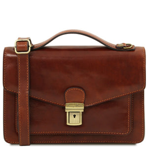 Front View Of The Brown Mens Leather Crossbody Bag