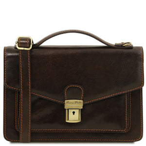 Front View Of The Dark Brown Mens Leather Crossbody Bag