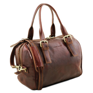 Angled View Of The Brown Eveline Womens Leather Duffle Bag
