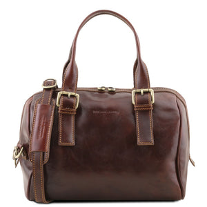 Front View Of The Brown Womens Leather Duffle Bag