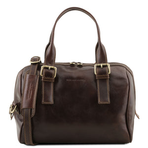 Front View Of The Dark Brown Womens Leather Duffle Bag