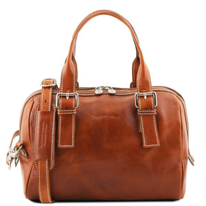Front View Of The Honey Womens Leather Duffle Bag