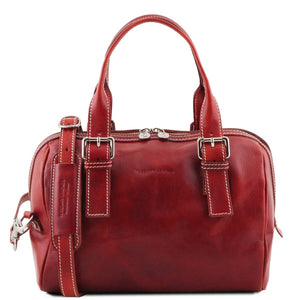 Front View Of The Red Womens Leather Duffle Bag