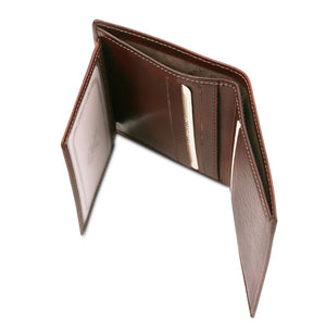 Currency Holder View Of The Brown Handmade Leather Wallet