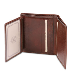ID Window And Credit Card Pocket View Of The Brown Handmade Leather Wallet