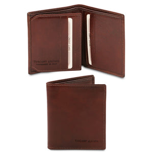 Open And Front View Of The Brown Handmade Leather Wallet
