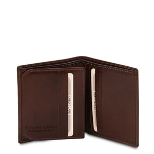Open View Of The Dark Brown Handmade Leather Wallet