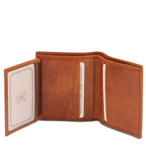 ID Window And Credit Card Pocket View Of The Honey Handmade Leather Wallet