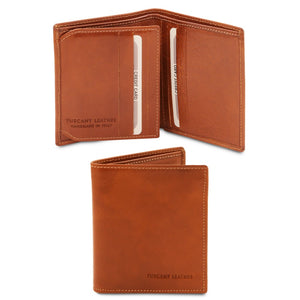 Open And Front View Of The Honey Handmade Leather Wallet