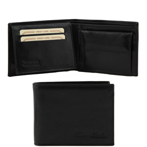 Front And Open View Of The Black Exclusive Mens Leather Wallet