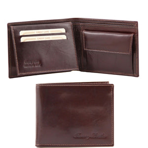 Front And Open View Of The Dark Brown Exclusive Mens Leather Wallet