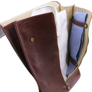 Right Sided Internal Features View Of The Brown Exclusive Leather Shirt Case