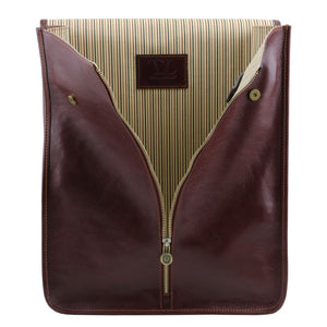 Opening Zipper View Of The Brown Exclusive Leather Shirt Case