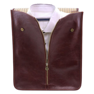 Shirt Holding View Of The Brown Exclusive Leather Shirt Case