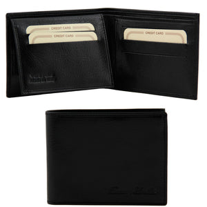 Open And Front View Of The Black Mens Bifold Wallet With ID Window