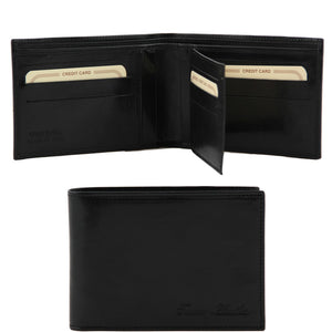 Open And Front View Of The Black Exclusive Mens Leather Wallet Bifold
