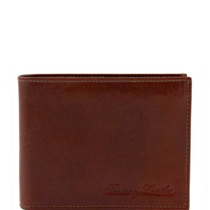 Front View Of The Brown Mens Bifold Wallet With ID Window