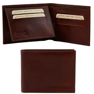 Open And Front View Of The Brown Mens Bifold Wallet With ID Window
