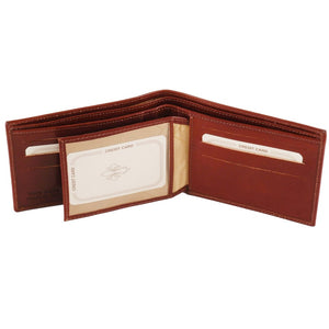 I.D. Window View Of The Brown Exclusive Mens Leather Wallet Bifold
