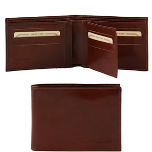 Open And Front View Of The Brown Exclusive Mens Leather Wallet Bifold