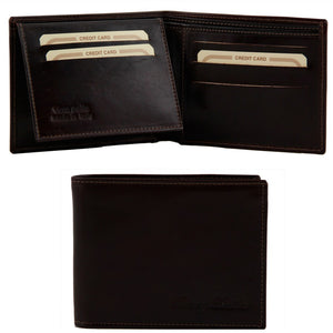 Open And Front View Of The Dark Brown Mens Bifold Wallet With ID Window