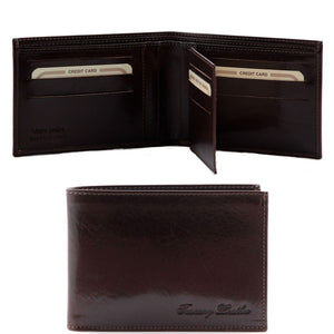 Open And Front View Of The Dark Brown Exclusive Mens Leather Wallet Bifold
