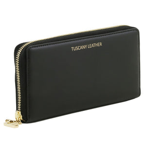 Angled View Of The Black Ladies Leather Zip Around Wallet