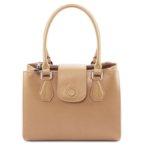 Front View Of The Champagne Luxury Leather Handbag