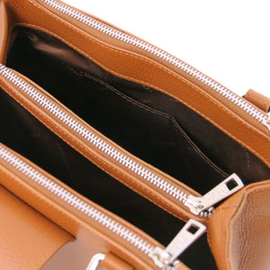 Internal Pockets View Of The Cognac Luxury Leather Handbag