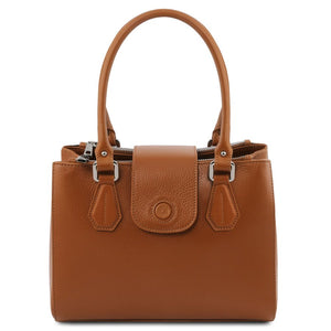 Front View Of The Cognac Luxury Leather Handbag