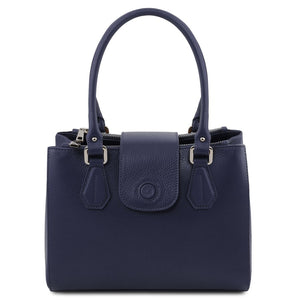 Front View Of The Dark Blue Luxury Leather Handbag