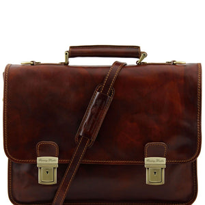 Front View Of The Brown Leather Business Briefcase