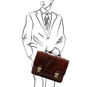 Man Posing With The Dark Brown Leather Business Briefcase