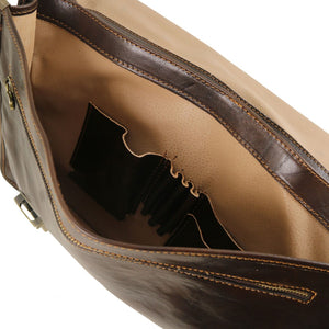 Internal Pockets View Of The Dark Brown Leather Business Briefcase