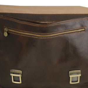 Front Features View Of The Dark Brown Leather Business Briefcase