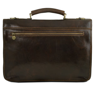 Rear View Of The Dark Brown Leather Business Briefcase