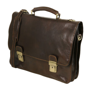 Angled View Of The Dark Brown Leather Business Briefcase