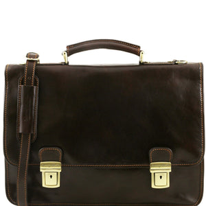 Front View Of The Dark Brown Leather Business Briefcase