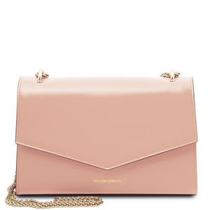 Front View Of The Ballet Pink Leather Evening Clutch