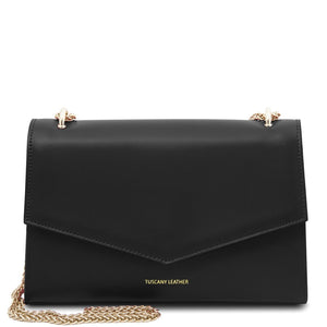 Front View Of The Black Leather Evening Clutch