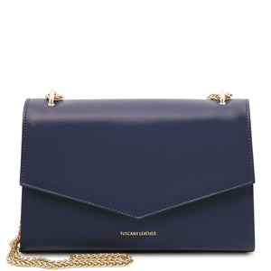 Front View Of The Dark Blue Leather Evening Clutch