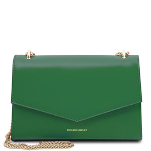 Front View Of The Green Leather Evening Clutch